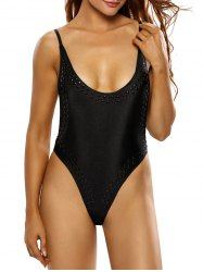 Spaghetti Strap Backless Plunge Low Cut Bodysuit - BLACK