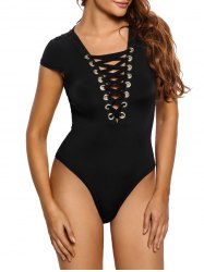 Cap Sleeve Lace-Up Criss Cross Cotton Bodysuit - BLACK