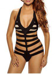 Backless Cutout Bandage Halter Swimwear - BLACK L