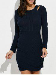 Cut Out Mini Ruched Long Sleeve Jumper Dress - PURPLISH BLUE XL