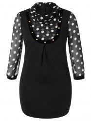 Plus Size Polka Dot Panel Dress - BLACK 5XL