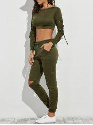 Lace-Up Crop Tee with Jogger Pants -