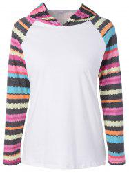 Hooded Striped Raglan Sleeves T-Shirt