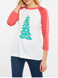Christmas Tree Print Color Block T-Shirt - WATERMELON RED XL