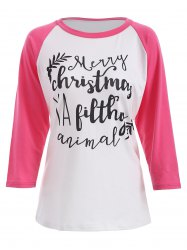 Merry Christmas Print Raglan Sleeves T-Shirt