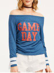 Game Day Print Off The Shoulder T-Shirt - BLUE XL