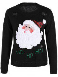Pullover Santa Applique Crew Neck Sweater