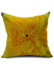 Floral Printed Linen Office Backrest Pillow Cover - YELLOW