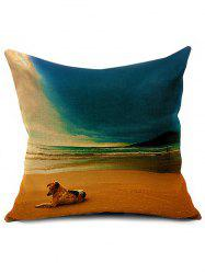 Linen Beach Printed Sofa Cushion Pillow Case