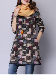 A Line Geometric Print Dress with Pockets