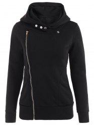 Asymmetric Zip Fleece Hoodie - BLACK