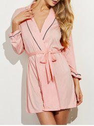 Belted Long Sleeves Wrap Sleepwear - SHALLOW PINK