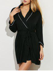 Belted Long Sleeves Wrap Sleepwear