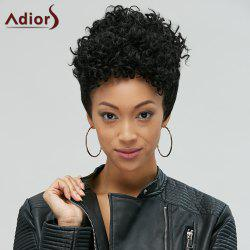 Adiors Short Pixie Cut Fluffy Curly Side Bang Synthetic Wig - BLACK