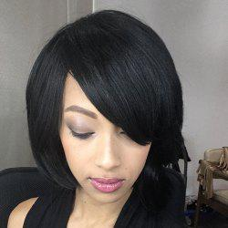 Short Fluffy Straight Oblique Bang Synthetic Wig