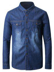 Suture Pockets Bleach Wash Denim Shirt
