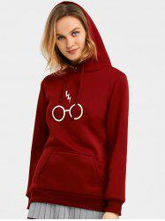 Drawstring Graphic Fleece Hoodie - WINE RED XL