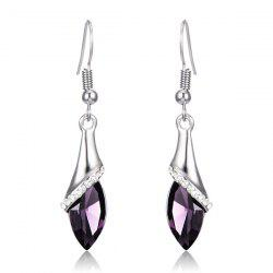 Faux Crystal Zircon Drop Earrings - PURPLE