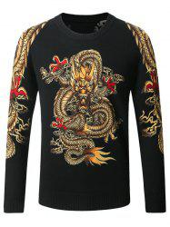 Dragon Pattern Crew Neck Thicken Sweater