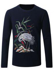 Crane Embroidered Crew Neck Thicken Sweater