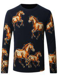 Horses Pattern Crew Neck Sweater