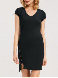Mini Asymmetrical Zipper Sheath Dress