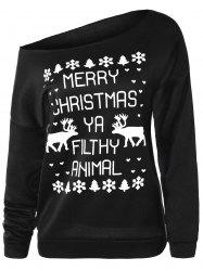 Skew Neck Elk Christmas Sweatshirt -