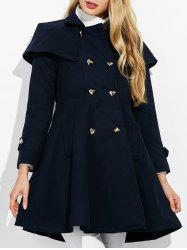 Double Breasted Ruffle Skirted A Line Coat -