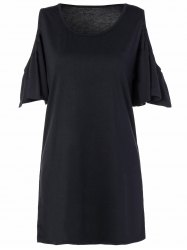 Loose Open Shoulder Flounce Sleeve Mini Dress With Sleeves - BLACK