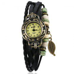 Artificial Leather Braid Leaf Bracelet Watch