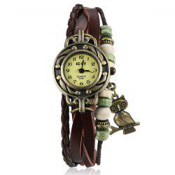 Artificial Leather Braid Owl Bracelet Watch -