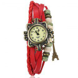 Artificial Leather Braid Eiffel Tower Bracelet Watch