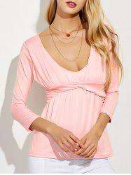 Empire Waist Low Cut T-Shirt - PINK XL