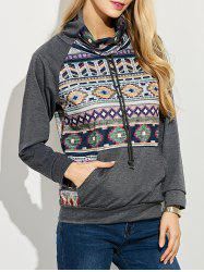 Kangaroo Pocket Patterned Sweatshirt