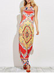 Backless Cut Out Print Maxi Dress -