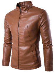 Stand Collar Zipper Design PU Leather Jacket - BROWN 3XL