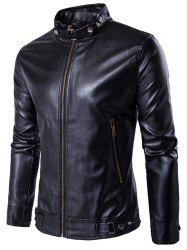Zip Up Metal Buckle Design PU Leather Jacket - BLACK