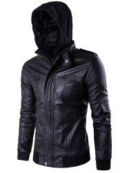 Faux Twinset Double Zip Up PU Leather Jacket