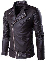 Turndown Collar Belt PU Leather Jacket -