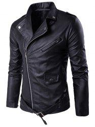 Turndown Collar Belt PU Leather Jacket