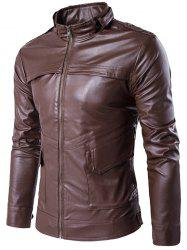 Stand Collar Zip Up Pockets Design PU Leather Jacket -
