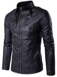 Stand Collar Zip Up Buttons Design PU Leather Jacket