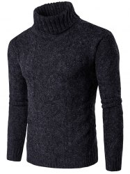 Roll Neck Knit Blends Verical Kink Design Sweater