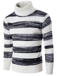 Roll Neck Knit Blends Ombre Stripe Sweater - WHITE