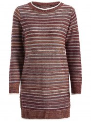 Striped Pullover Long Sweater - COFFEE ONE SIZE