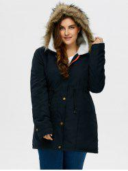 Plus Size Drawstring Hooded Parka Coat With Fur Collar - PURPLISH BLUE