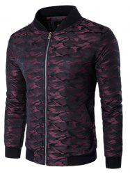 Stand Collar Zip Up Pocket Camo Padded Jacket -