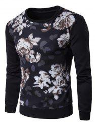 Floral 3D Print Crew Neck Sweatshirt - BLACK 2XL