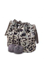 Furry Pompon Leopard Bucket Bag