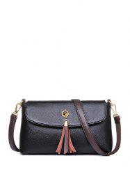Tassel Eyelet PU Leather Shoulder Bag